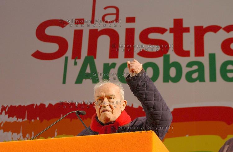 Roma 9 Dicembre 2007.Assemblea della sinistra e ecologisti sinistra .Pietro Ingrao