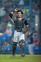 Great Falls Voyagers catcher Carlos Perez (20) on defense against the Helena Brewers at Centene Stadium on August 18, 2017 in Helena, Montana.  The Voyagers defeated the Brewers 10-7.  (Brian Westerholt/Four Seam Images)