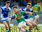 Robert Wharton South Kerry in action against Barry John Keane Kerins O'Rahillys in the Kerry Senior Football Championship Semi Final at Fitzgerald Stadium on Saturday.