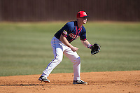 Shippensburg Raiders shortstop Mike Marcinko (2) on defense against the Belmont Abbey Crusaders at Abbey Yard on February 8, 2015 in Belmont, North Carolina.  The Raiders defeated the Crusaders 14-0.  (Brian Westerholt/Four Seam Images)