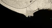 historical aerial photograph of Bombay Beach, California Highway 111, Salton Sea, Imperial County, California, 1985