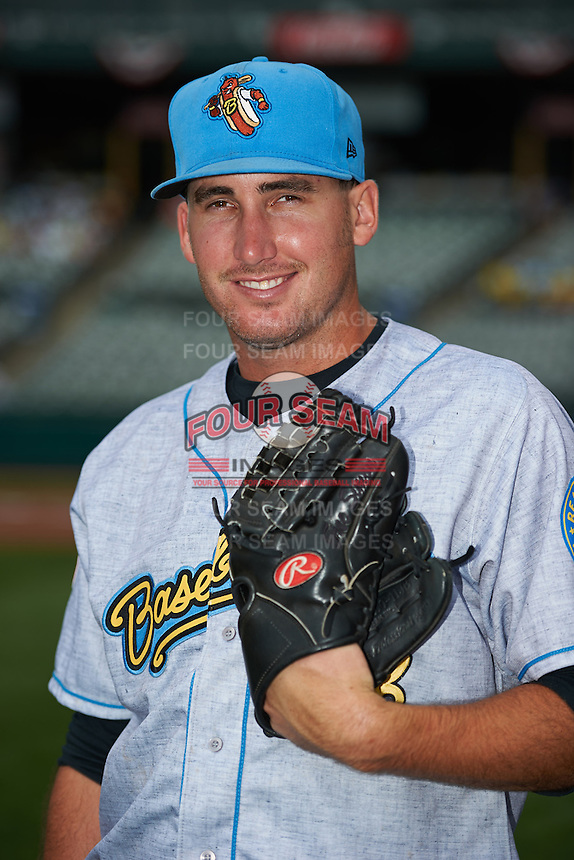 Reading Fightin Phils pitcher Kyle Simon #28 poses for a photo before a game against the Trenton Thunder on July 8, 2013 at Arm & Hammer Park in Trenton, New Jersey.  Trenton defeated Reading 10-6.  (Mike Janes/Four Seam Images)