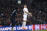 6th November 2019, Paris France; UEFA Champions league football, Paris St German versus Brugges;  MAURO ICARDI PSG flicks the header forward