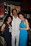 Opening Night of Manipulation at after party at Sardis - Robert Bogue & Mandy Bruno pose with actress Daphne Rubin-Vega after the curtain call of Victoria E. Calderon's play Manipulation on June 28, 2011 at the Cherry Lane Theatre, New York City, New York. (Photo by Sue Coflin/Max Photos)