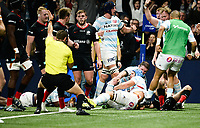 1717th November 2019,  Paris La Défense Arena, Hauts-de-Seine, France; Champions Cup Rugby Union, Racing 92 versus Saracens;  Racing celebrate their try from WENCESLAS LAURET