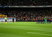 9th September 2017, Camp Nou, Barcelona, Spain; La Liga football, Barcelona versus Espanyol; A minutes silence with both teams