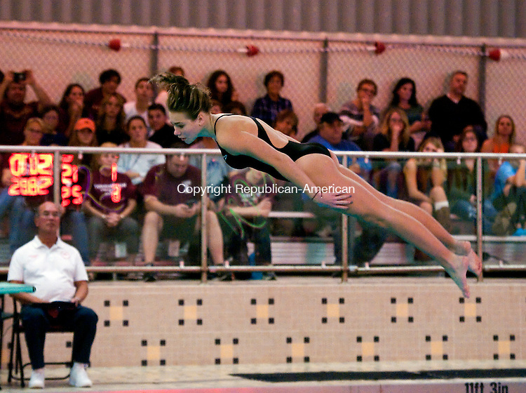 BEACON FALLS,  CT-110216JS07- Sacred Heart's Alexia Gallino finished third in the NVL diving finals Wednesday at Woodland Regional High School in Beacon Falls. <br /> Jim Shannon Republican American