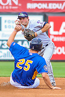Cedar Rapids Kernels second baseman Joe Cronin (4) turns a double play during a Midwest League game against the Wisconsin Timber Rattlers on August 6, 2017 at Fox Cities Stadium in Appleton, Wisconsin.  Cedar Rapids defeated Wisconsin 4-0. (Brad Krause/Four Seam Images)