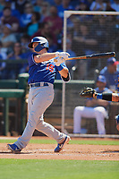 Will Smith (16) of the Los Angeles Dodgers follows through on a swing during a Cactus League Spring Training game against the Texas Rangers on March 8, 2020 at Surprise Stadium in Surprise, Arizona. Rangers defeated the Dodgers 9-8. (Tracy Proffitt/Four Seam Images)