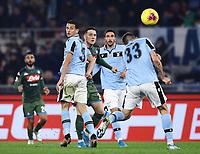 11th January 2020; Stadio Olympico, Rome, Italy; Serie A Football, Lazio versus Napoli; Piotr Zielinski of Napoli gets his header past Francesco Acerbi of Lazio - Editorial Use