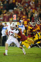 LOS ANGELES, CA - October 29, 2011:  Griff Whalen picks up yardage after catching a pass during Stanford's Pac-12 victory over the USC Trojans.  Stanford won in triple overtime, 56 -48, and extended its winning streak to 16 games.