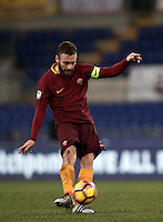 Calcio, Serie A: Roma vs Cagliari, Roma, stadio Olimpico, 22 gennaio 2017.<br /> Roma's Daniele De Rossi kicks the ball during the Italian Serie A football match between Roma and Cagliari at Rome's Olympic stadium, 22 January 2017. <br /> UPDATE IMAGES PRESS/Isabella Bonotto
