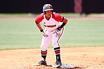 RALEIGH, NC - MAY 07: NC State's Cheyenne Balzer stands on second base. The North Carolina State University Wolfpack hosted the University of Louisville Cardinals on May 7, 2017, at Dail Softball Stadium in Raleigh, NC in a Division I College Softball game. Louisville won the game 7-0.