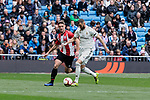 Real Madrid's Karim Benzema and Athletic Club de Bilbao's Yeray Alvarez  during La Liga match between Real Madrid and Athletic Club de Bilbao at Santiago Bernabeu Stadium in Madrid, Spain. April 21, 2019. (ALTERPHOTOS/A. Perez Meca)