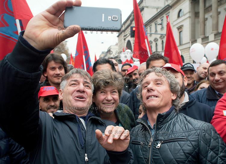 Milano: sciopero generale dei metalmeccanici Fiom e CGIL<br /> Susanna Camusso segretario generale CGIL.<br /> Milan: general strike of metal workers.