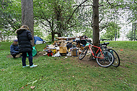 Pictured: Tents occupied by homeless people by Boulevard de Nantes opposite Cardiff City Hall. Wednesday 12 June 2019<br />