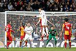 (L-R) Real Madrid's Karim Benzema, Raphael Varane and Galatasaray's Burak Yilmaz, Emmanuel Eboue, Fernando Muslera,  Hamit Altintop during the quarter final Champion League match. April 3, 2013.(ALTERPHOTOS/Alconada)