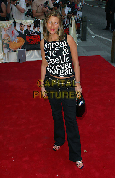 LISA - BIG BROTHER.American Pie - The Wedding UK Film Premiere, Odeon, Covent Garden, Shaftesbury Avenue.7th August 2003 .slogan shirt, sleeveless, full length, full-length.www.capitalpictures.com.sales@capitalpictures.com.Supplied By Capital Pictures