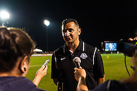 FC Kansas City head coach Vlatko Andonovski is interviewed after the match. Sky Blue FC and FC Kansas City played to a 2-2 tie during a National Women's Soccer League (NWSL) match at Yurcak Field in Piscataway, NJ, on June 26, 2013.
