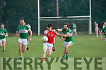 > John Moynihan Rathmore takes on the Legion's Podge O'Connor  in the Senior club championship in Rathmore on Saturday night