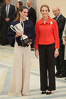 Enfant Elena of Spain awards Ona Carbonell during the 2013 Sports National Awards ceremony at El Pardo palace in Madrid, Spain. December 03, 2014. (ALTERPHOTOS/Victor Blanco)