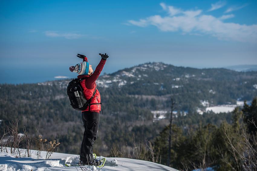 Atop Hogsback Mountain near Marquette, Michigan in winter.