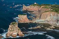 France, Pyrénées-Atlantiques (64), Pays-Basque, Hendaye: Falaises de la corniche basque  avec les Jumeaux , rochers détachés de la corniche par l' érosion - Vue aérienne  //  France, Pyrenees Atlantiques, Basque Country,Hendaye: The Jumeaux rocks (Dunbarriak in Basque, literally 'the bell stones') have become somewhat emblematic to Hendaye. These two high rock stacks, which have been carved out of the cliffs by wave action, - Aerial view