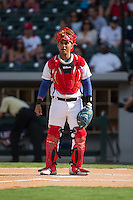 Cuban National Team catcher Frank Camilo Morejon Reyes (45) on defense against the US Collegiate National Team at BB&T BallPark on July 4, 2015 in Charlotte, North Carolina.  The United State Collegiate National Team defeated the Cuban National Team 11-1.  (Brian Westerholt/Four Seam Images)
