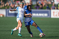 Allston, MA - Saturday August 19, 2017: Dani Weatherholt, Ifeoma Onumonu during a regular season National Women's Soccer League (NWSL) match between the Boston Breakers and the Orlando Pride at Jordan Field.