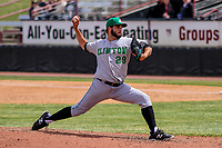 Clinton LumberKings pitcher Tommy Romero (29) delivers a pitch during a Midwest League game against the Wisconsin Timber Rattlers on April 26, 2018 at Fox Cities Stadium in Appleton, Wisconsin. Clinton defeated Wisconsin 7-3. (Brad Krause/Four Seam Images)