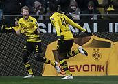 18th March 2018, Dortmund, Germany;  Football Bundesliga, Borussia Dortmund versus Hannover 96 at the Signal Iduna Park. Dortmund's Michy Batshuayi (r) celebrates with Andre Schafter his goal for 1-0.