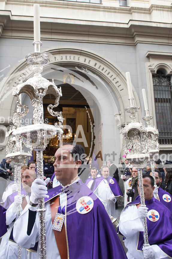 Brotherhoods of the Christ of  Medinaceli procession carrying the Christ of Medinadeli during Spanish Easter in  Madrid on March 30, 2018.