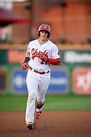 Peoria Chiefs catcher Andrew Knizner (21) rounds the bases after hitting a home run in the bottom of the fourth inning during a game against the West Michigan Whitecaps on May 8, 2017 at Dozer Park in Peoria, Illinois.  West Michigan defeated Peoria 7-2.  (Mike Janes/Four Seam Images)
