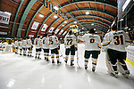12 December 2009: University of Vermont Catamounts line up prior to a game against the St. Lawrence University Saints at Gutterson Fieldhouse in Burlington, Vermont. The Catamounts shut out their former ECAC rival Saints 3-0. Mandatory Credit: Ed Wolfstein Photo