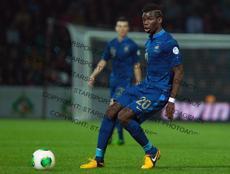 Fudbal Soccer<br /> World Cup 2014 qualifiers match<br /> Belarus v France<br /> Paul Pogba<br /> Gomel, 06.09.2013.<br /> foto: Srdjan Stevanovic/Starsportphoto &copy;