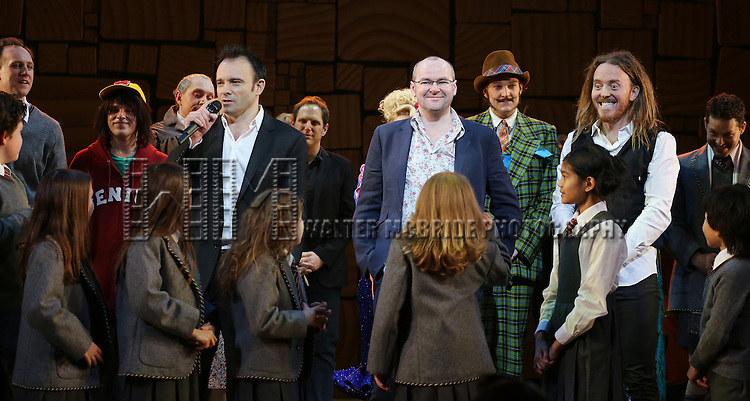 Matthew Warchus, Dennis Kelly, Tim Minchin & Cast during the Broadway Opening Night Performance Curtain Call for 'Matilda The Musical' at the Shubert Theatre in New York City on 4/11/2013