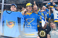June 12, 2019: Blues fans celebrate at game 7 of the NHL Stanley Cup Finals between the St Louis Blues and the Boston Bruins held at TD Garden, in Boston, Mass.  The Saint Louis Blues defeat the Boston Bruins 4-1 in game 7 to win the 2019 Stanley Cup Championship.  Eric Canha/CSM.