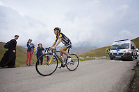 A stage beforehand marked out for him turned upside down by diarrhea for Louis Meintjes (ZAF/MTN-Qhubeka) as he mounts up the Col d'Allos (1C/2250m/14km/5.5%) as the very last rider (followed by the race ambulance) and working hard at making the time cut-off.<br /> <br /> stage 17: Digne-les-Bains - Pra Loup (161km)<br /> 2015 Tour de France