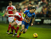 Shrewsbury Town's Shaun Whalley gets away from Fleetwood Town's Paddy Madden<br /> <br /> Photographer Alex Dodd/CameraSport<br /> <br /> The EFL Sky Bet League One - Fleetwood Town v Shrewsbury Town - Tuesday 13th February 2018 - Highbury Stadium - Fleetwood<br /> <br /> World Copyright &copy; 2018 CameraSport. All rights reserved. 43 Linden Ave. Countesthorpe. Leicester. England. LE8 5PG - Tel: +44 (0) 116 277 4147 - admin@camerasport.com - www.camerasport.com