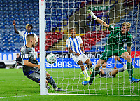 Huddersfield Town's Ryan Schofield gets across his goal to make a save from Lincoln City's Jack Payne<br /> <br /> Photographer Chris Vaughan/CameraSport<br /> <br /> The Carabao Cup First Round - Huddersfield Town v Lincoln City - Tuesday 13th August 2019 - John Smith's Stadium - Huddersfield<br />  <br /> World Copyright © 2019 CameraSport. All rights reserved. 43 Linden Ave. Countesthorpe. Leicester. England. LE8 5PG - Tel: +44 (0) 116 277 4147 - admin@camerasport.com - www.camerasport.com