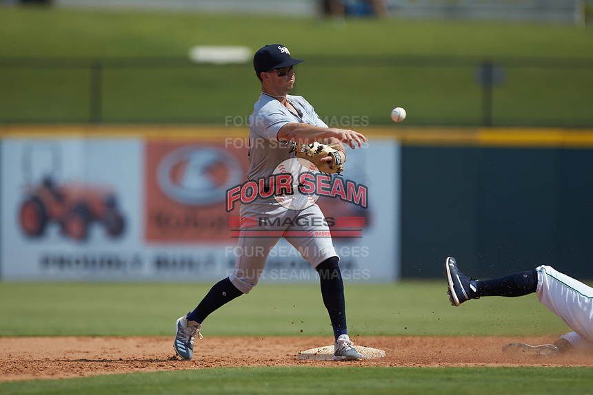 Scranton/Wilkes-Barre RailRiders second baseman Mandy Alvarez (24) makes a throw to first base against the Gwinnett Stripers at Coolray Field on August 18, 2019 in Lawrenceville, Georgia. The RailRiders defeated the Stripers 9-3. (Brian Westerholt/Four Seam Images)