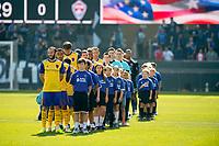 San Jose, CA - Sunday October 21, 2018: National anthem, Colorado Rapids  prior to a Major League Soccer (MLS) match between the San Jose Earthquakes and the Colorado Rapids at Avaya Stadium.