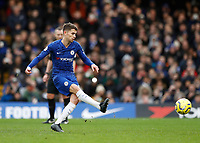 11th January 2020; Stamford Bridge, London, England; English Premier League Football, Chelsea versus Burnley; Jorginho of Chelsea shoots to score his sides 1st goal in the 28th minute from a penalty to make it 1-0 - Strictly Editorial Use Only. No use with unauthorized audio, video, data, fixture lists, club/league logos or 'live' services. Online in-match use limited to 120 images, no video emulation. No use in betting, games or single club/league/player publications
