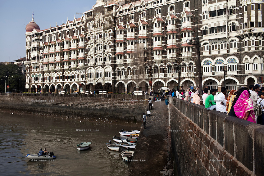 The Taj hotel that faces the Arabian sea on the Marine Drive in Mumbai, India. Photo by Suzanne Lee