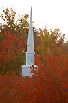 Church steeple in fall red leaves, Commonwealth of Virginia, Fine Art Photography by Ron Bennett, Fine Art, Fine Art photography, Art Photography, Copyright RonBennettPhotography.com ©