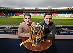 Dominic Ball from Rangers and Peterhead captain Steven Noble at Hampden to preview Sunday's Petrofac Cup Final