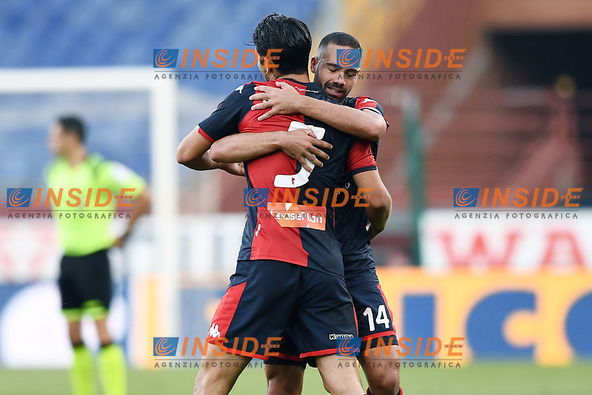 Edoardo Goldaniga of Genoa CFC celebrates with Davide Biraschi after scoring the goal of 1-1 during the Serie A football match between Genoa CFC and SSC Napoli stadio Marassi in Genova ( Italy ), July 08th, 2020. Play resumes behind closed doors following the outbreak of the coronavirus disease. <br /> Photo Matteo Gribaudi / Image / Insidefoto