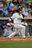 First baseman Dash Winningham (34) of the Columbia Fireflies bats in a game against the Lexington Legends on Saturday, April 22, 2017, at Spirit Communications Park in Columbia, South Carolina. Lexington won, 4-0. (Tom Priddy/Four Seam Images)