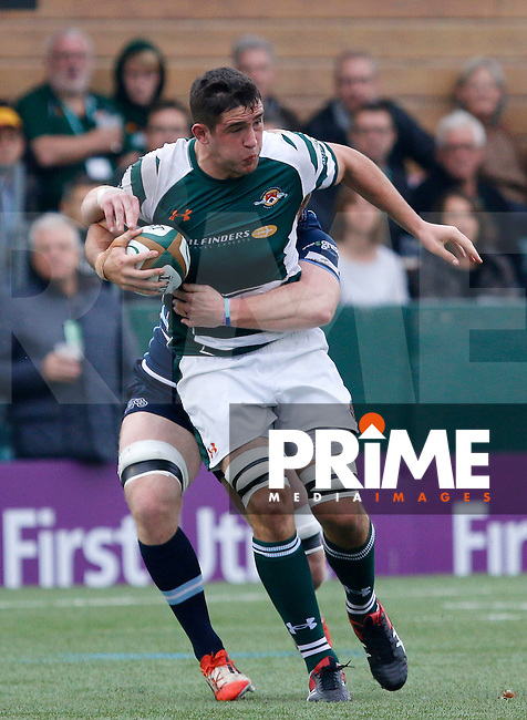 Ealing's Carwyn Jones is tackled during the Greene King IPA Championship match between Ealing Trailfinders and Bedford Blues at Castle Bar , West Ealing , England  on 29 October 2016. Photo by Carlton Myrie / PRiME Media