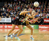 26.07.2015 Silver Ferns Jodi Brown in action during the Silver Fern v South Africa netball test match played at Claudelands Arena in Hamilton. Mandatory Photo Credit ©Michael Bradley.
